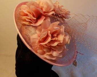 Bibi fascinator headdress ceremony wedding rose peach