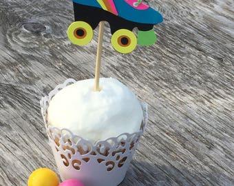 Roller Skate Cupcake Toppers, Roller Skating Party