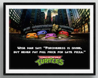 Teenage Mutant Ninja Turtles - Wise Man Pizza TMNT Art Print Wall Decor Typography Inspirational Poster Motivational Movie Quote