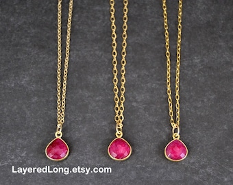Ruby Necklace Ruby Necklace Gold Ruby Pendant Necklace Womens  July Birthstone Natural Ruby Necklace Real Ruby Pendant
