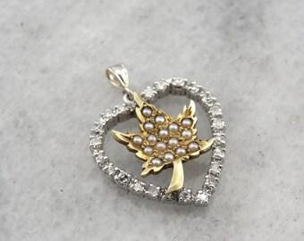 Little Maple Leaf and Diamond Heart Pendant KRNU1A-R