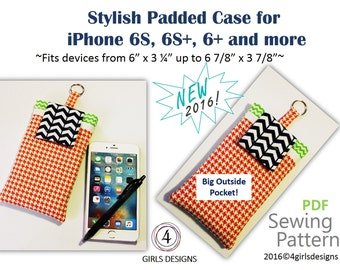 "Instant Download PDF Sewing Pattern for iPhones Padded Case and Fits More up to 6 7/8"" by 3 7/8"" NEW DiY Gift for Techies, Creative Spirits"