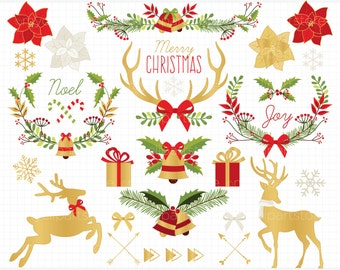 Clipart - Christmas Wreaths / Reindeer Antlers Silhouettes - Digital Clip Art (Instant Download)