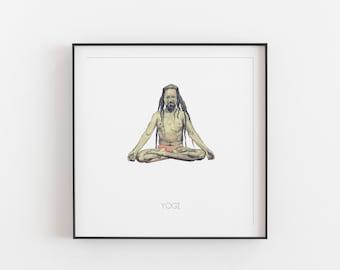 Yogi Art, Printable art, Indian Art, Paint Art, Yoga  Wall Art, Yoga Decal
