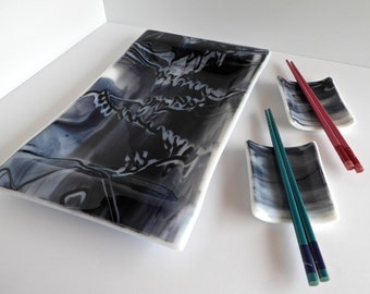 Fused Glass Sushi Plate Set in Black and White by BPRDesigns