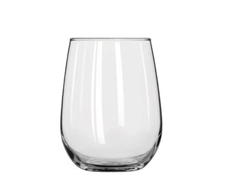 Stemless White Wine Glass - 17oz. - Personalized Gift - Laser Etched