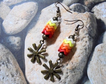 Red, Orange, Tangerine, Yellow and Ivory Flower Earrings (2733)