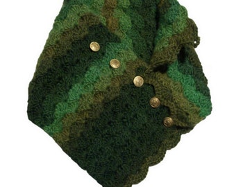 Soft Shell Right Angle Button-Up Scarf - Crochet Pattern (PDF)