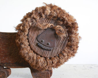 1960's Folk Art Wood Carving of a Lion / Signed and Dated / Mid Century Mixed Media Art