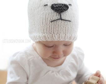 Baby Polar Bear Hat KNITTING PATTERN / Polar Bear Baby Hat / Polar Bear Hat Pattern / Polar Bear Beanie / Polar Bears for Kids / Polar Bears