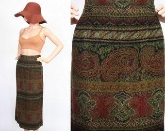 Vintage Boho Autumnal Midi Skirt / High Waisted / Hippie Rug Carpet Skirt / Ethnic Paisley Print / 80s Bohemian / Medium