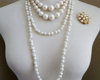Vintage Faux Pearl LOT, 2 Necklaces, 1 Brooch Signed Capri 1950's, All Nice Wearable Condition