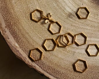 Medium Beekeepers Stitch Markers for Knitting - Gold Hexagon Closed Ring Markers - Knitting Notions - Set of 10