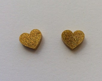 Large gold hologram glitter Acrylic / perspex laser cut earrings heart studs