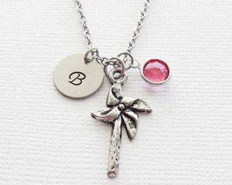 Pinwheel Pewter Necklace Wheel Twirl Wind Origami Toy Retro Jewelry Swarovski Birthstone Silver Initial Personalized Monogram Hand Stamped