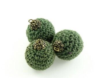 Set of 3 beads bronze green 22mm fabric crochet cotton on stem