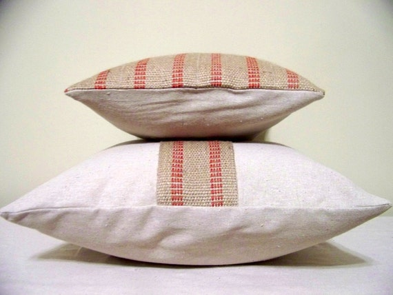 Free Shipping   Set Of  Two Red Stripe Jute Pillows   Jute   Burlap   Natural   Christmas   Rustic   Farmhouse   Coordinating by Etsy