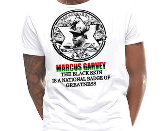 Marcus Garvey T-Shirt Badge Of Greatness Black History Month Cotton Tee