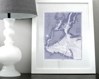 New York Harbor Nautical Chart Map 1963 Blue, DIGITAL PRINT for Download, 16 x 20 PRINT, Map Art Prints, Maps, Beach Decor