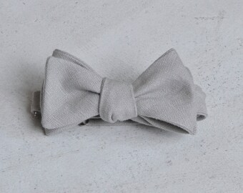 Dove Grey Linen Self Tie Bow Tie