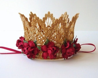 Baby Gold Crown - Red Flowers - First Birthday Crown - Photo Prop - 1st Birthday - Cake Smash - Mini Gold Crown - Red - Gold