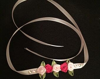 Ballet dance bun wrap with satin roses and diamontes