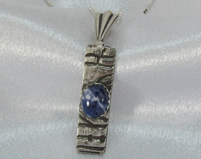 """Item 6108 - """"Clouds of Blue"""" 999 PMC Fine Silver Handcrafted, carved, sculpted with Genuine Blue Sodalite"""