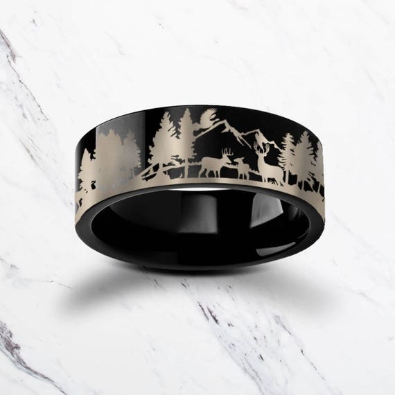 Engraved Deer Family Mountain Landscape Scene Black Tungsten Ring Flat Polished Finish - 4mm to 12mm Available - Lifetime Size Exchanges