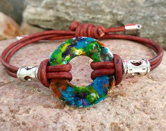 Hand painted washer brown leather adjustable bracelet