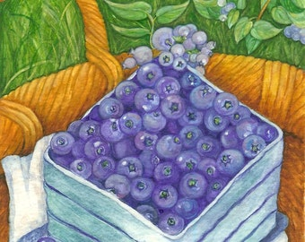 Blueberries Watercolor 11x14  Print