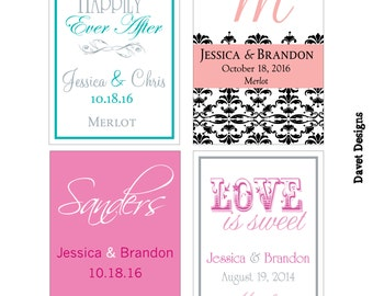 56 - 2x2.67 inch Custom Wedding Rectangle or Mini Wine Bottle Labels - hundreds of designs - change designs to any color, wording etc