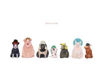 Pigs in Wigs Print