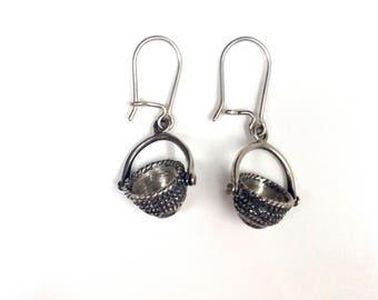 Nantucket open basket kidney ear wire earrings