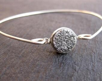 Raw Druzy Quartz Bangle Bracelet   Sterling Silver or 14k Gold   Natural Gemstone Jewelry, Drusy Bracelet, Silver Bracelet Blue Stone Bangle