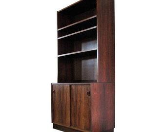 Mid Century Modern Danish Rosewood Sliding Door Cabinet with Bookcase