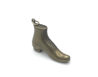 Victorian boot charm, victorian boot pendant, laceup boot, gold tone boot, womens boot charm, gift for her, TheOSB