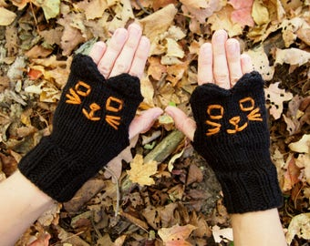 Black Cat Fingerless Gloves - Vegan Knit Black Cat Gloves - Black Cat Knitted Fingerless Texting Gloves with Cute Black Cat Ears