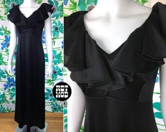 Fun & Sassy Vintage 70s Black Ruffle Maxi Long Disco Summer Dress