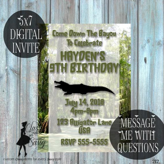 Swamp and Alligator Birthday Invitation, Alligator Invitation, Swamp Theme Invitation,  212