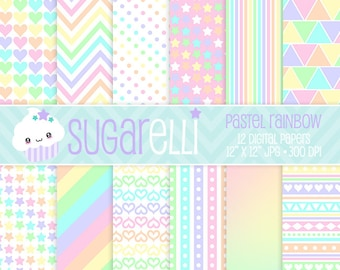 Pastel Rainbow Digital Paper Pack 12 Scrapbook Papers Kawaii Colors Stripes Chevron Polka Dots Hearts Instant Download Commercial Use