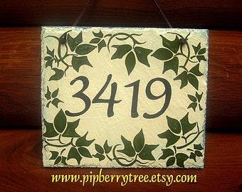 Hand Painted Decorative Ivy Border Address Slate