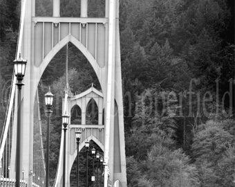St. Johns Bridge, PDX, Fine Art Photography, Green Bridge,11x14,16 x 24, Portland Bridge, Woodland Photo, Vintage Era, Urban Decor Wall Art
