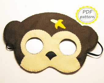 PDF PATTERN Monkey felt mask sewing tutorial instruction DIY handmade brown animal costume accessory for boys girls adults Dress up play