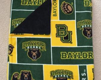 Reversible Double Layered Hand Tied or Sewn Licensed Designer Collegiate NCAA Baylor Bears University Fleece Blanket Minky or AntiPill