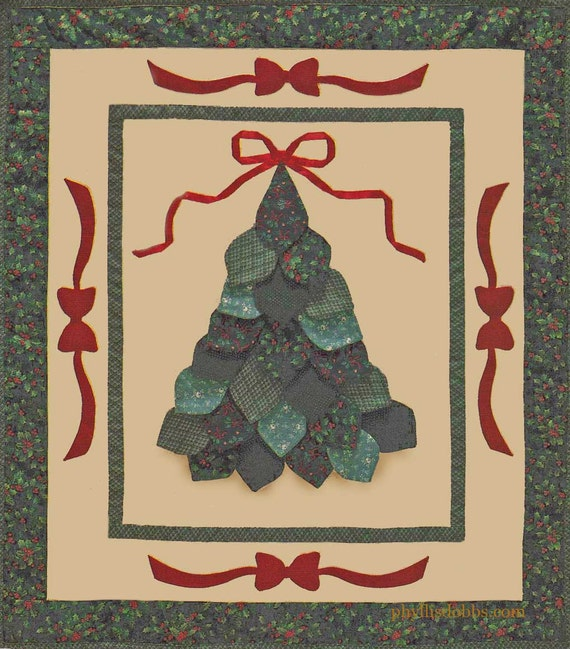Christmas Tree And Bows Quilt Pattern Instant Download