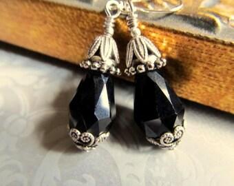 Black Gothic Punk Rock Earrings Game of Thrones Jewelry Gothic Wedding Jewelry Rock Chic Black Dangle Earrings- Night