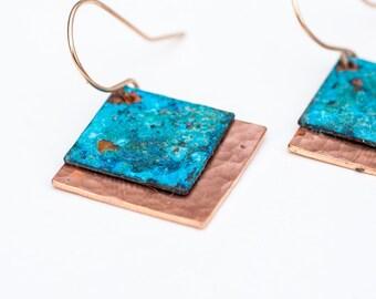 Blue & Copper Earrings - Blue Patina Earrings - Blue and Copper Earrings - Patina Forged Earrings - Blue on Top of Copper Earrings