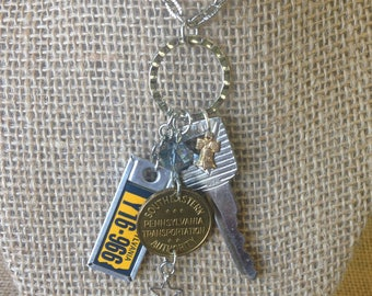 Road Trip Necklace - Vintage Pennsylvania DAV Tag * Transit Token * Vintage Ford Key * Liberty Bell