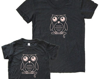 Mother Daughter Matching Owl Shirts - Mommy and Me Matching Shirts, Tshirt Set - T shirt gift, mom child, mom shirt, mother daughter, girl