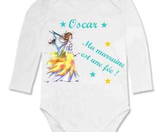 Bodysuit my godmother is a fairy personalized with name